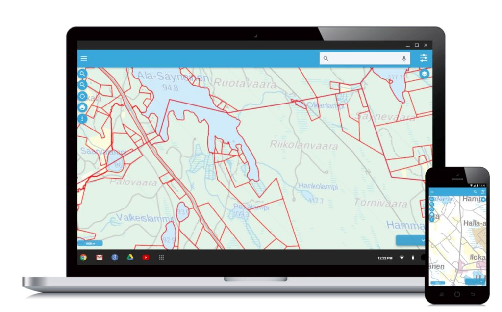 GIS softwares are responsive and can be scaled for various screen sizes
