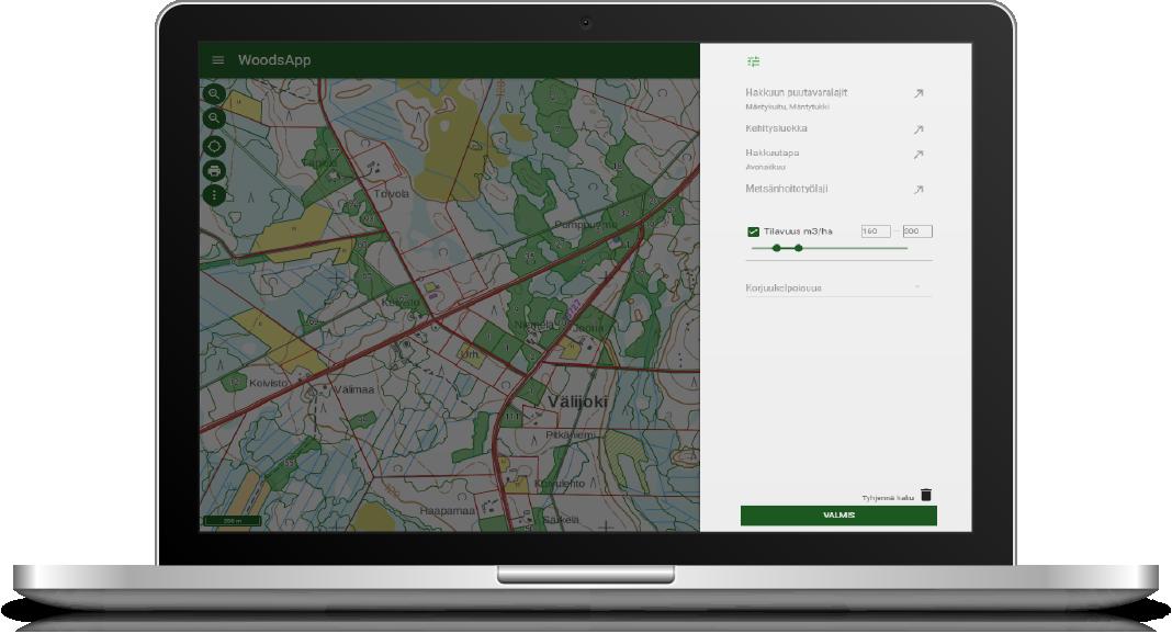 WoodsAppin helppojen karttatoimintojen avulla voit hakea metsäkuvioita ominaisuustietojen ja sijainnin avulla.