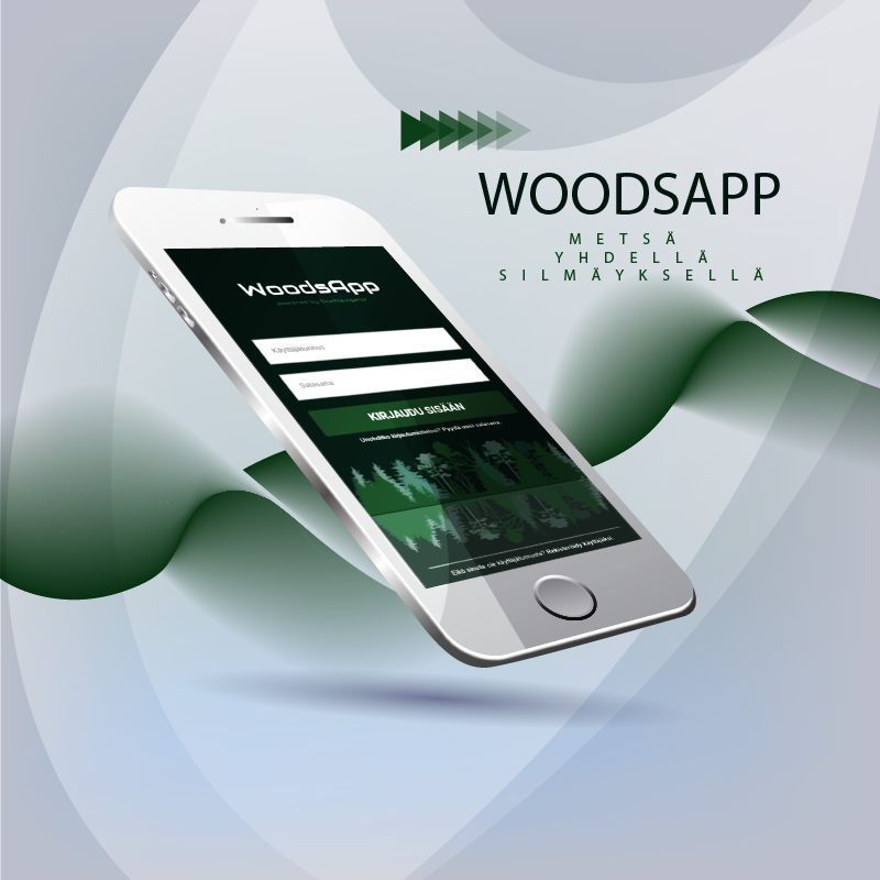WoodsApp forest information system with mobile features.