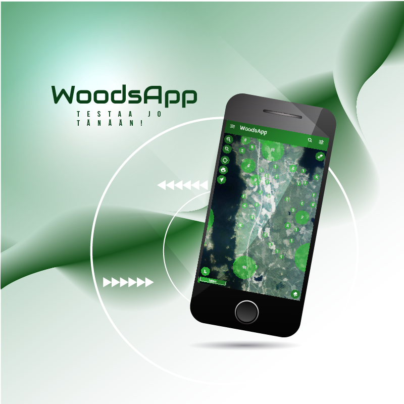 WoodsApp application shown on a mobile phone screen.
