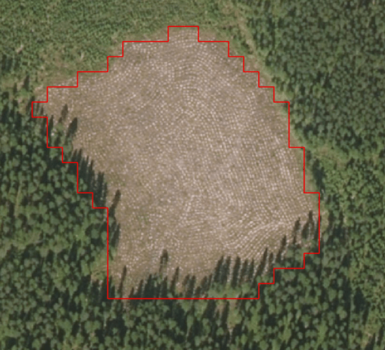 Changed area marked to an aerial image