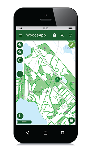 WoodsApp map view on a mobile phone